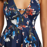 FLORAL OPEN BACK A-LINE MINI - B ANN'S BOUTIQUE