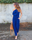 RUFFLED ONE SHOULDER CASUAL CHIC JUMPSUIT - B ANN'S BOUTIQUE