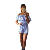 BLUE & WHITE STRIPED OFF-THE-SHOULDER ROMPER - B ANN'S BOUTIQUE
