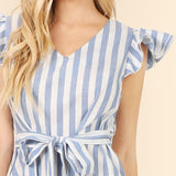 SARAH SASH STRIPE DRESS
