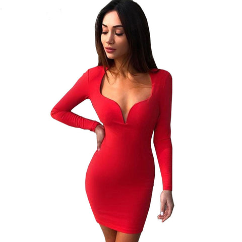 LONG SLEEVE LOW-CUT BODYCON DRESS - B ANN'S BOUTIQUE