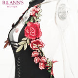 BLACK FLORAL EMBROIDERED BODYSUIT - B ANN'S BOUTIQUE