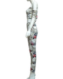 FITTED FLORAL STRAPLESS PANT SET - B ANN'S BOUTIQUE