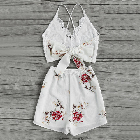 LACE & FLORAL SHORTS SET - B ANN'S BOUTIQUE