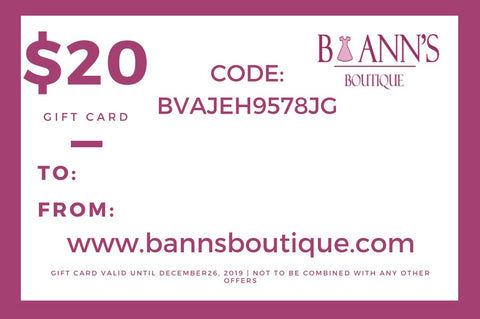 E-GIFT CARDS - B ANN'S BOUTIQUE