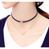 WOMENS BLACK LEATHER CHOKER NECKLACE - B ANN'S BOUTIQUE