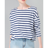 STRIPE PRINTED LOOSE BASE CASUAL LONG SLEEVE O-NECK WOMENS TOP - B ANN'S BOUTIQUE