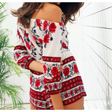 SEXY OFF-SHOULDER RED FLORAL PRINT ROMPER - B ANN'S BOUTIQUE