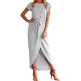 WOMENS HIGH SPLIT MAXI WRAP DRESS WITH O-NECK AND SHORT SLEEVES - B ANN'S BOUTIQUE