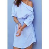 WOMENS ONE-SHOULDER BLUE STRIPED SHIRT DRESS - B ANN'S BOUTIQUE
