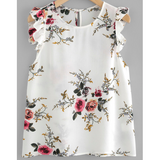 WOMENS WHITE ROUND NECK SLEEVELESS FLORAL BLOUSE - B ANN'S BOUTIQUE