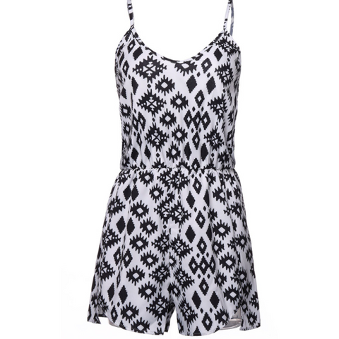 BLACK & WHITE PATTERNED JUST RIGHT ROMPER - B ANN'S BOUTIQUE