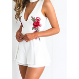 FLORA'S FLORAL EMBROIDERED ROMPER - B ANN'S BOUTIQUE