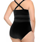WOMENS PATCHWORK MESH ONE-PIECE - B ANN'S BOUTIQUE