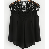 KEYHOLE BACK DAISY LACE SHOULDER BLOUSE - B ANN'S BOUTIQUE
