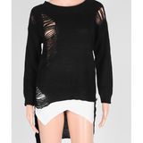 DESTROYED SWEATER, ASYMMETRICAL WITH KNITTED TASSEL - B ANN'S BOUTIQUE