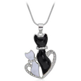 EBONY & IVORY MOMMA CAT WITH HER BABY NECKLACE - B ANN'S BOUTIQUE