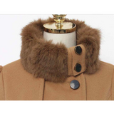 BELTED DOUBLE BREASTED PEACOAT WITH TURN-DOWN FAUX FUR COLLAR - B ANN'S BOUTIQUE