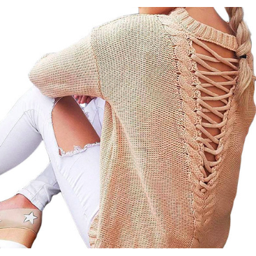 KNITTED SWEATER WITH LACE-UP BACK - B ANN'S BOUTIQUE