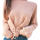KNITTED WOMENS SWEATER WITH LACE-UP IN FRONT - B ANN'S BOUTIQUE