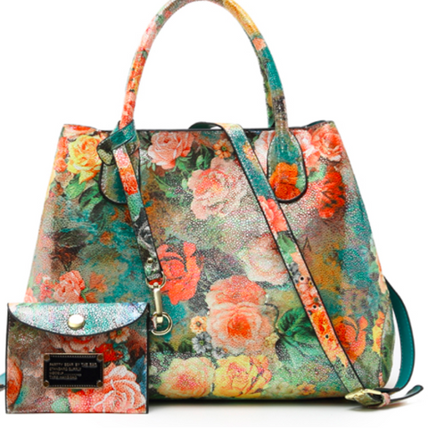 FLORAL BOUQUET TOTE & MATCHING CLUTCH - B ANN'S BOUTIQUE
