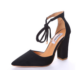SUEDE STRAPPY PUMP WITH TIE FRONT - B ANN'S BOUTIQUE