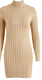 TURTLENECK RIBBED SWEATER DRESS - B ANN'S BOUTIQUE