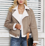 CROPPED SUEDE JACKET WITH LAMB FUR COLLAR - B ANN'S BOUTIQUE