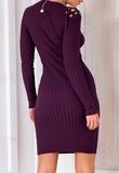 SWEATER DRESS WITH TIE-UP SLIT AND SHOULDER - B ANN'S BOUTIQUE