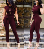 LACE-UP  BACKLESS JUMPSUIT - B ANN'S BOUTIQUE