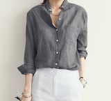 WOMENS LONG-SLEEVE COTTON BUTTON-UP - B ANN'S BOUTIQUE