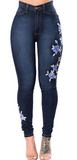 FLORAL EMBROIDERED JEANS - B ANN'S BOUTIQUE