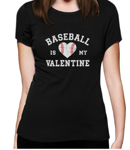 BASEBALL IS MY VALENTINE TEE - B ANN'S BOUTIQUE