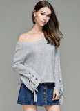 SWEATER PULLOVER WITH PAGODA LACE-UP SLEEVES - B ANN'S BOUTIQUE