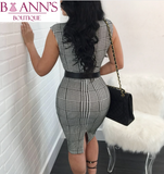 HOUNDSTOOTH SEXY SHEATH DRESS - B ANN'S BOUTIQUE