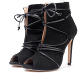 WOMENS SUEDE TIE-UP PEEP TOE BOOTIE - B ANN'S BOUTIQUE