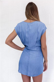 DENIM FRONT BOW SHEATH DRESS - B ANN'S BOUTIQUE