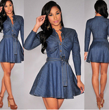 DENIM A-LINE MINI DRESS - B ANN'S BOUTIQUE