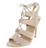 BEIGE CAGED LACE-UP OPEN TOE - B ANN'S BOUTIQUE