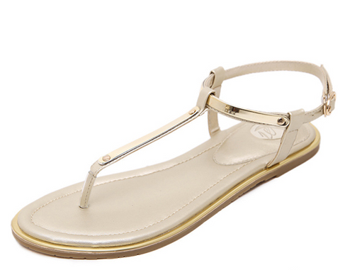 GOLD THONG SANDALS - B ANN'S BOUTIQUE