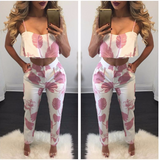 FLOWER POWER CROPPED TOP & PANTS SET - B ANN'S BOUTIQUE