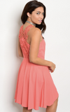 CORAL LACE BACK DRESS - B ANN'S BOUTIQUE
