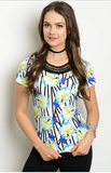 BLUE FLORAL PARADISE LACE-UP TOP - B ANN'S BOUTIQUE