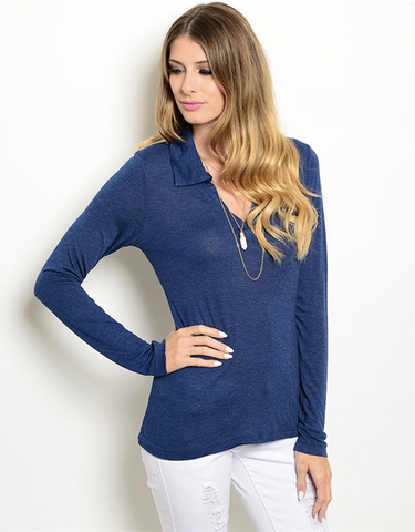 NAVY NIGHTS TOP - B ANN'S BOUTIQUE