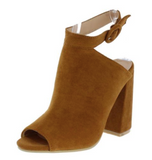 VELMA CAMEL PEEP TOE REAR CUT OUT SLANTED CHUNKY HEEL - B ANN'S BOUTIQUE