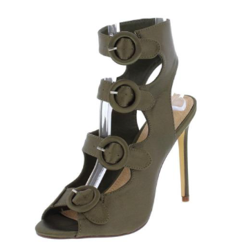 OLIVE PEEP TOE MULTI BUCKLE CUT OUT HEEL - B ANN'S BOUTIQUE