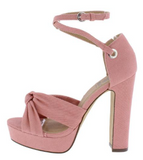 PINK KNOTTED PEEP TOE CROSS ANKLE STRAP HEEL - B ANN'S BOUTIQUE