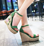 EMMA EMBROIDERED FLORAL WEDGE - B ANN'S BOUTIQUE