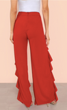 ROE'S RED RUFFLE SPLIT PANTS