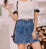 A+ DENIM BUTTON-UP MINI - B ANN'S BOUTIQUE